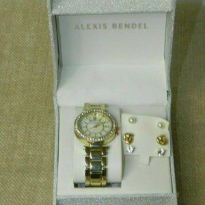 Alexis Bendel  Watch and Earrings Gold Piece Boxed